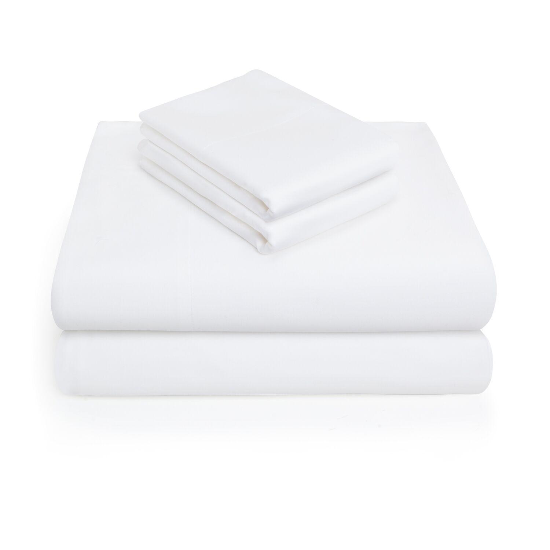 300 Thread Count 100% Cotton 4 Piece Sheet Set Color: White, Size: King