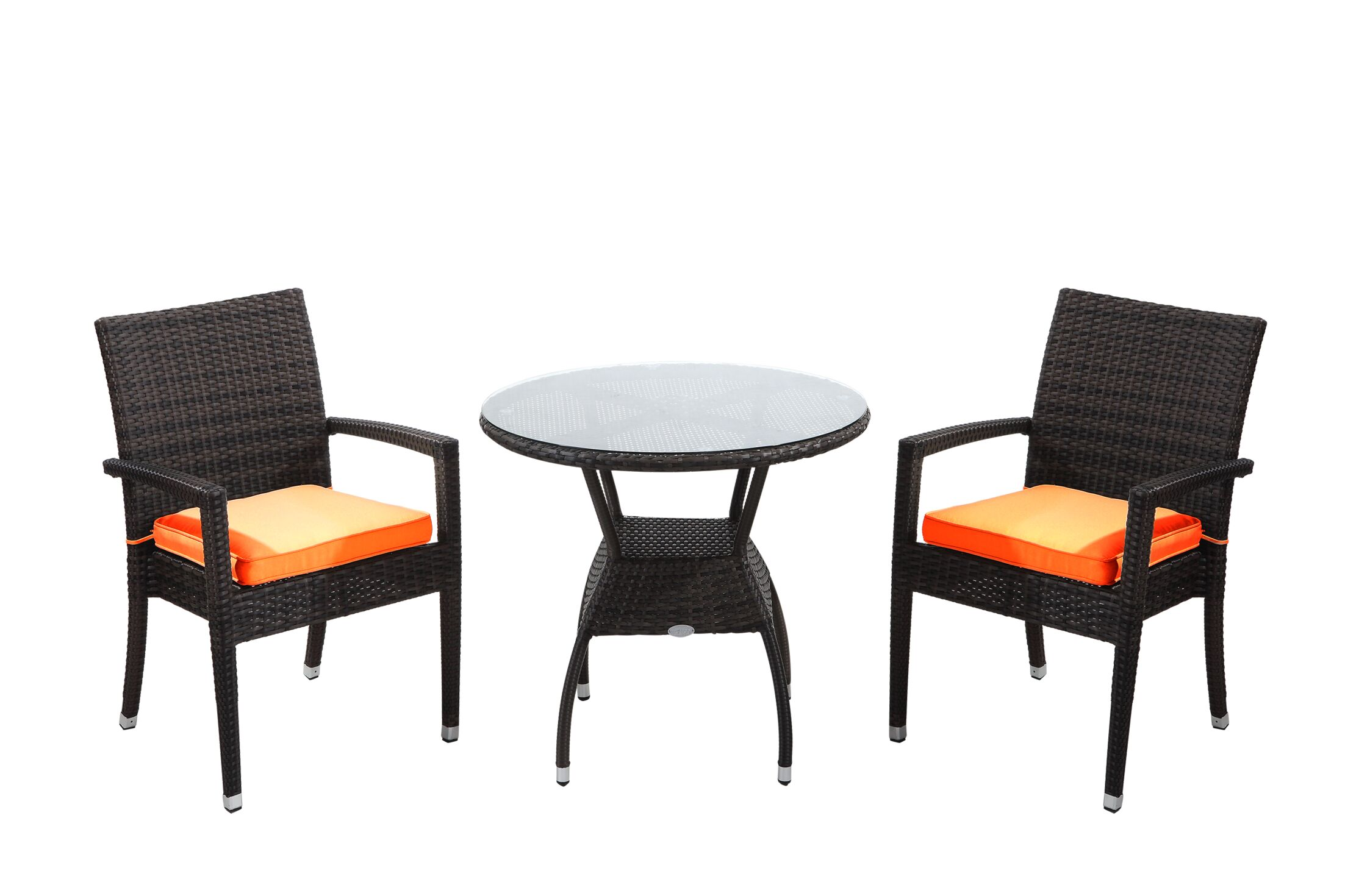 Brighton 3 Piece Dining Set with Cushions Cushion Color: Orange, Finish: Java Brown