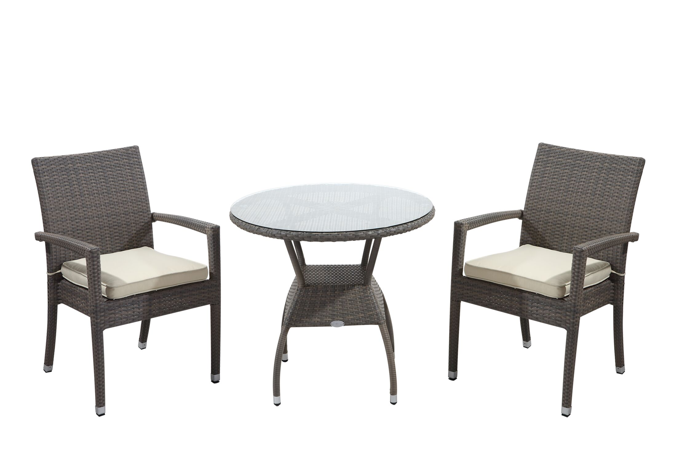 Brighton 3 Piece Dining Set with Cushions Cushion Color: Green, Finish: Honey