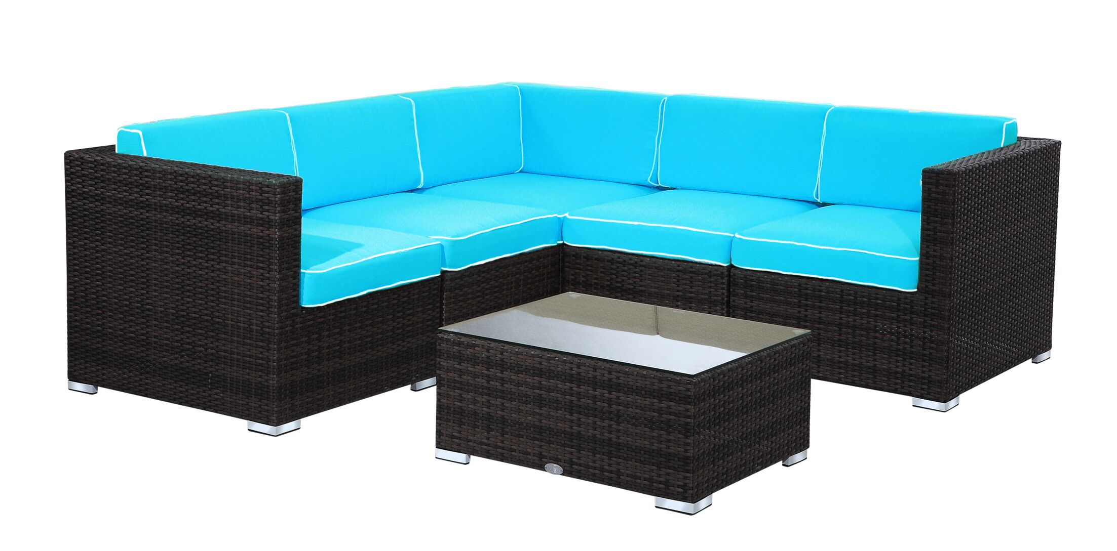 Elsmere 9 Piece Sectional Set with Cushions Fabric: Aqua, Color: Java