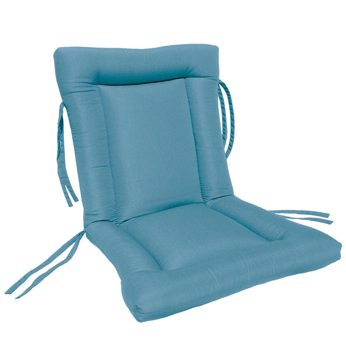 European Quilt Indoor/Outdoor Sunbrella Chair Cushion Fabric: Sky Blue