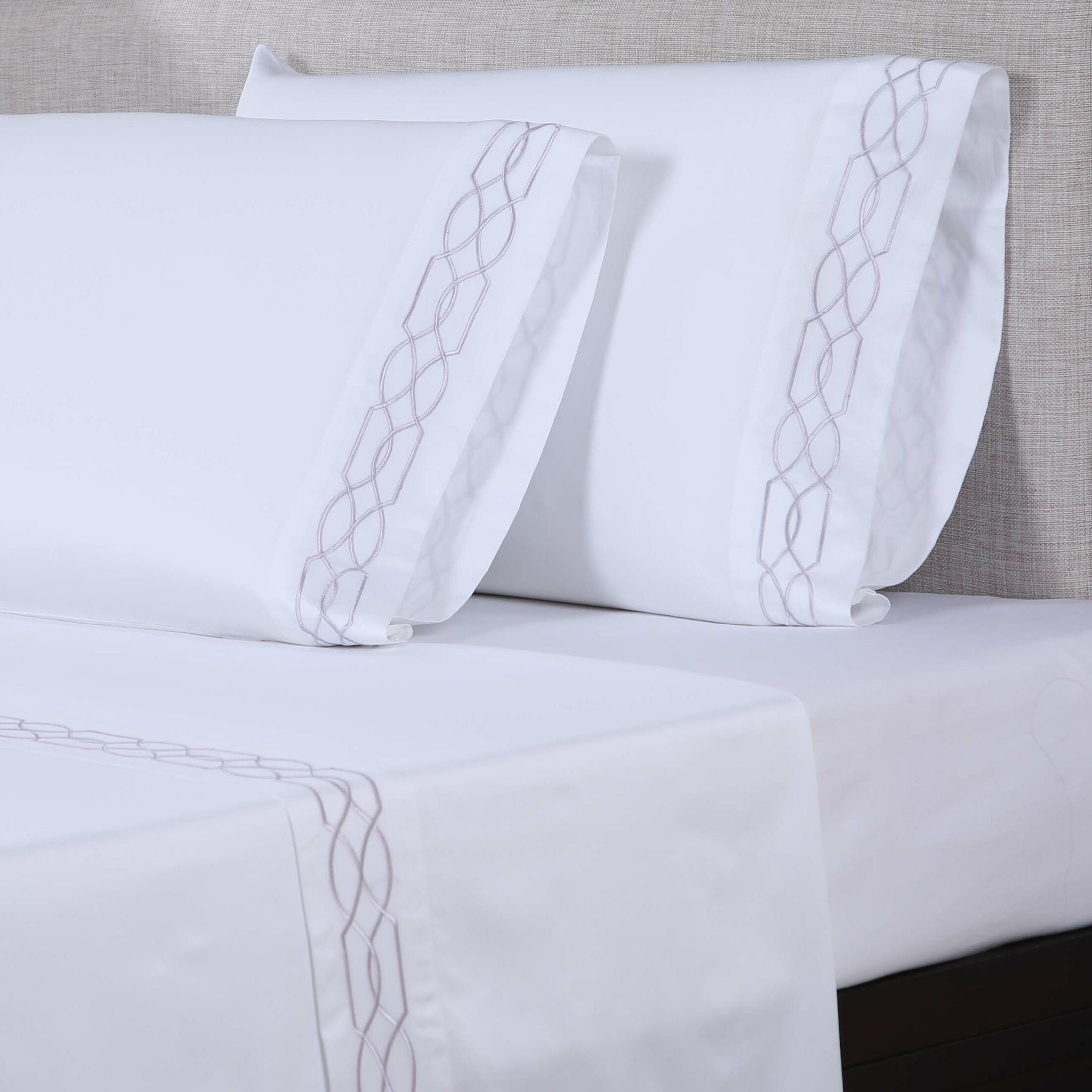 600 Thread Count Cotton Sheet Set Color: White/Purple Grey, Size: King