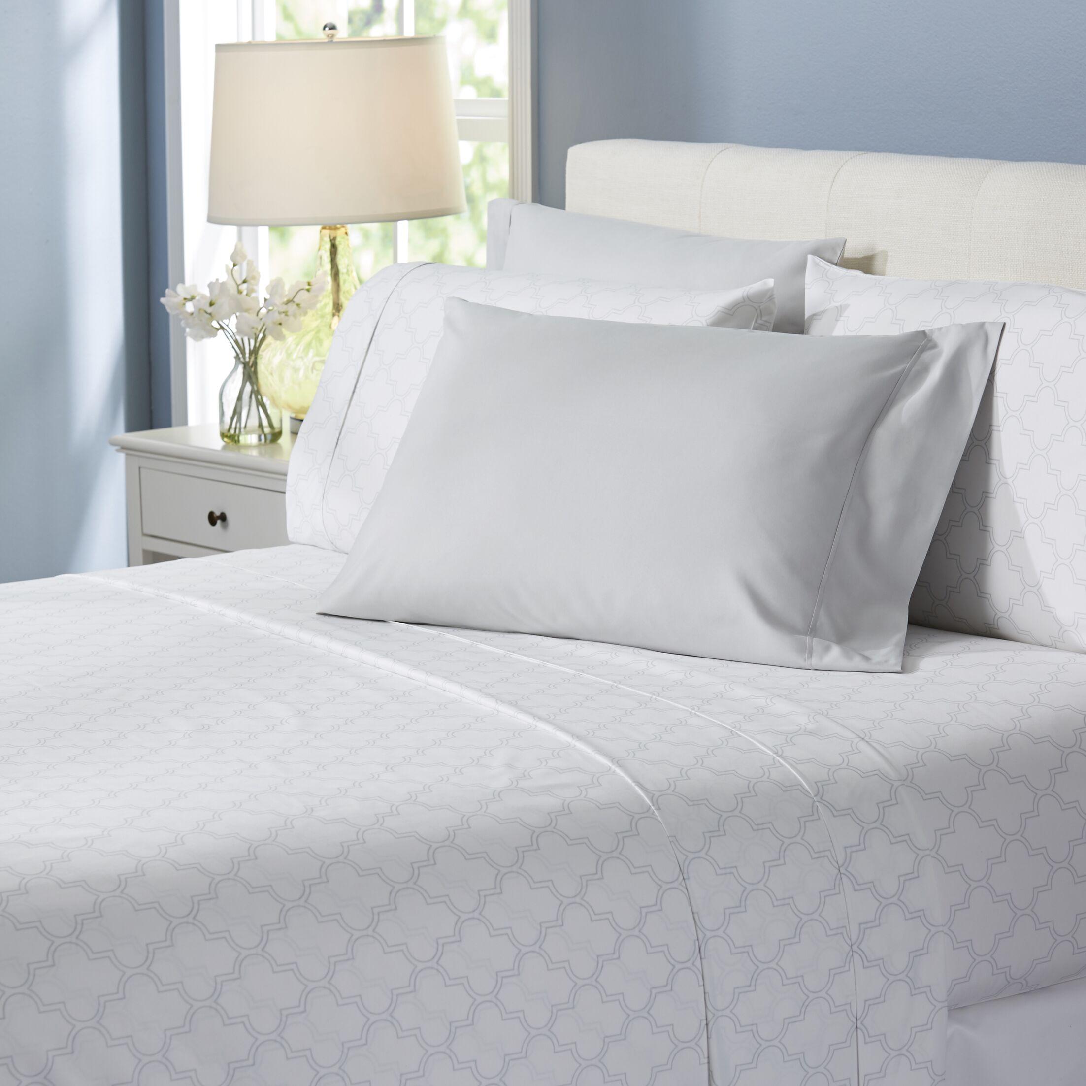 Wayfair Basics Trellis 6 Piece Sheet Set Size: Queen, Color: Lighter Gray