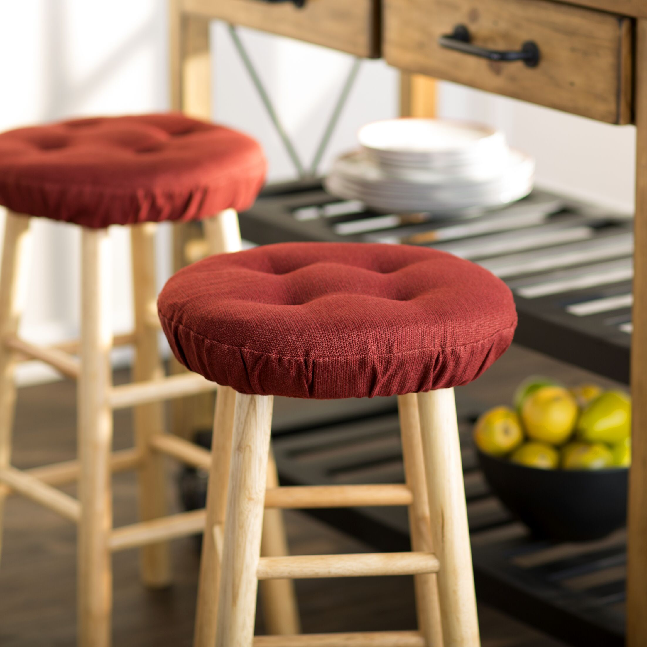 Wayfair Basics Tufted Gripper Barstool Cushion Set Color: Flame