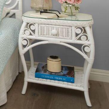 Rosana Rattan Side Table Color: White