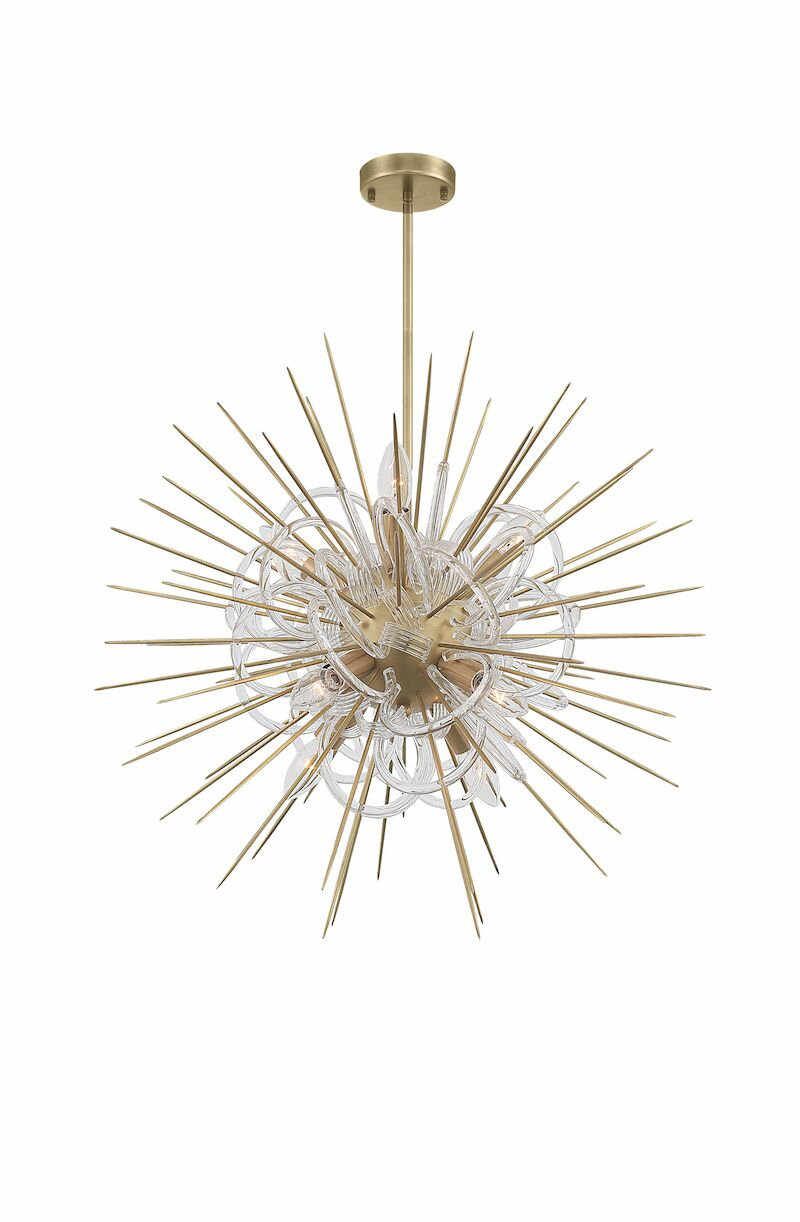 Flare Sputnik Chandelier Base Finish: Aged Brass, Size: 38.5