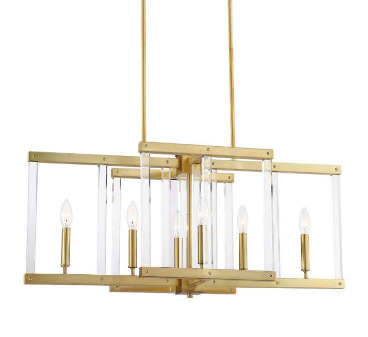 Gerhard 6-Light Geometric Chandelier Finish: Polished Brass