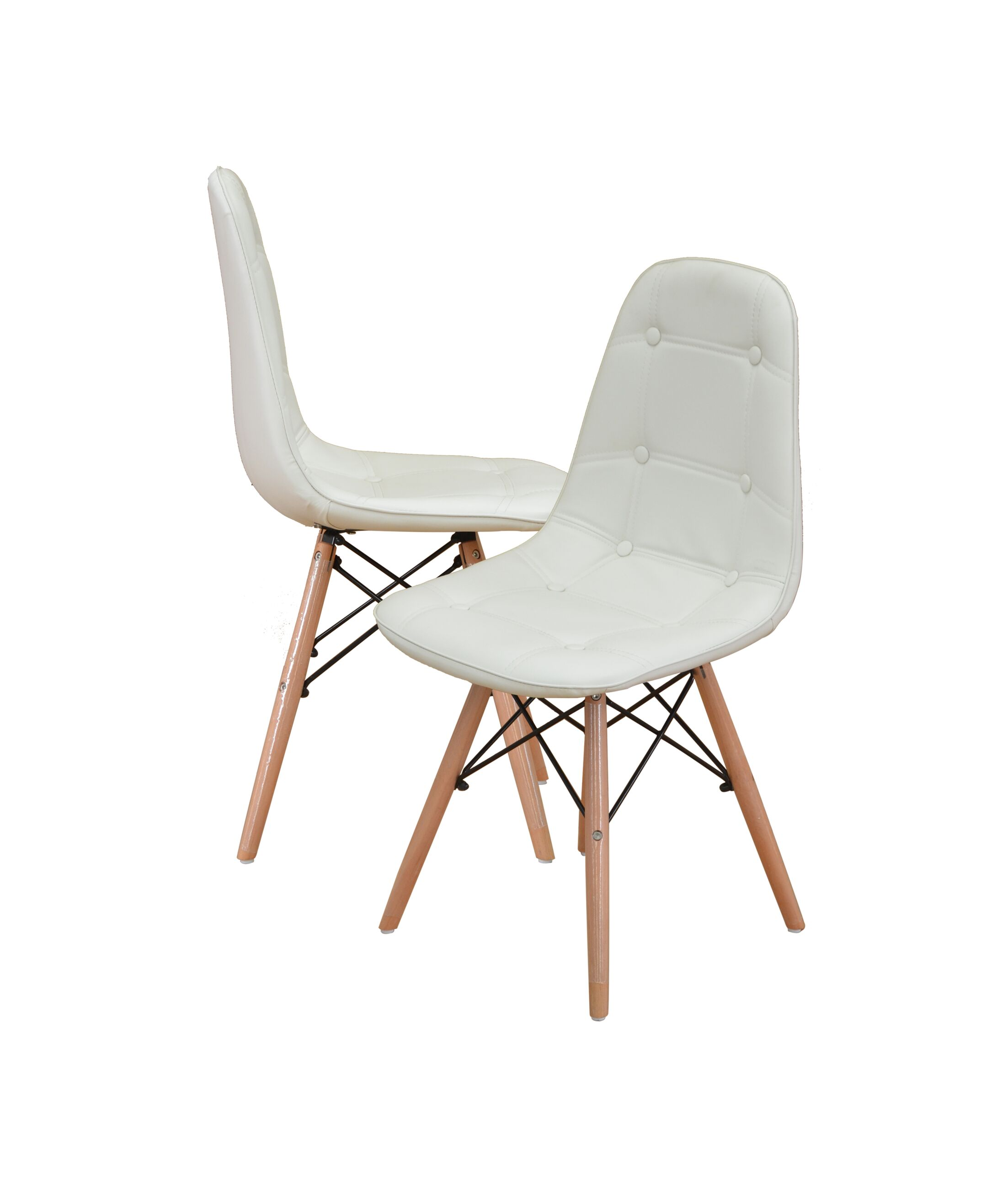 Modern Tufted Wood Legs Side Chair Upholstery: White