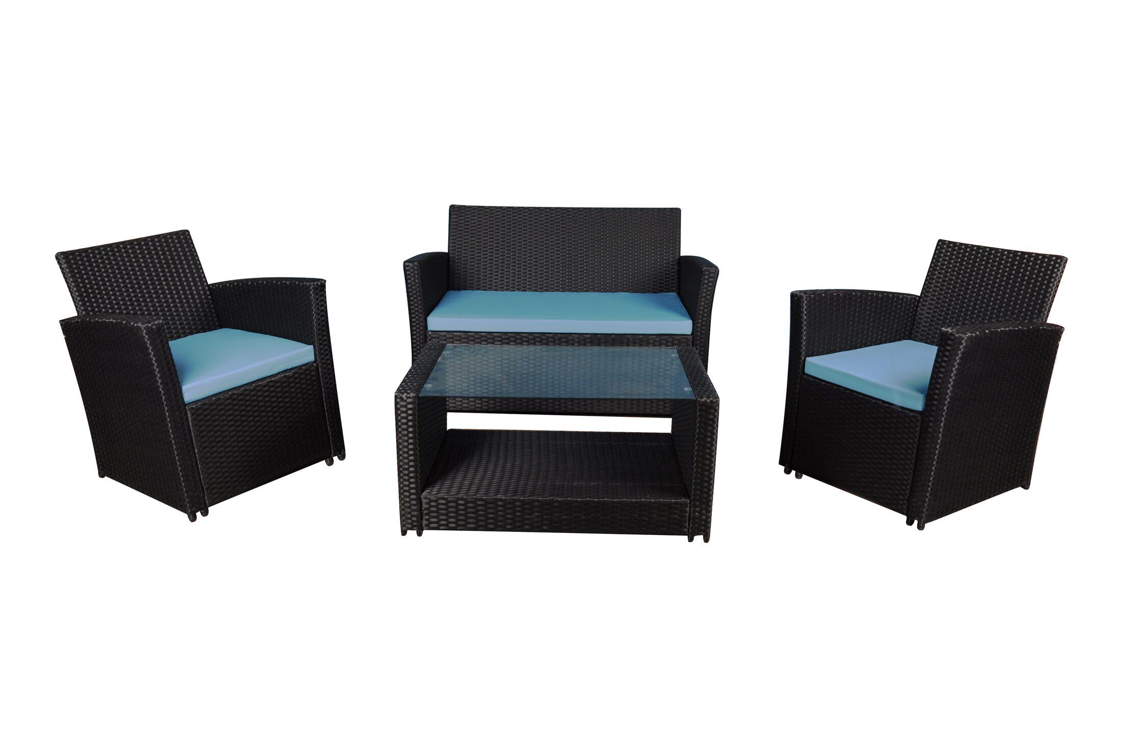 4 Piece Sofa Set with Cushions Frame Color: Black, Fabric: Blue