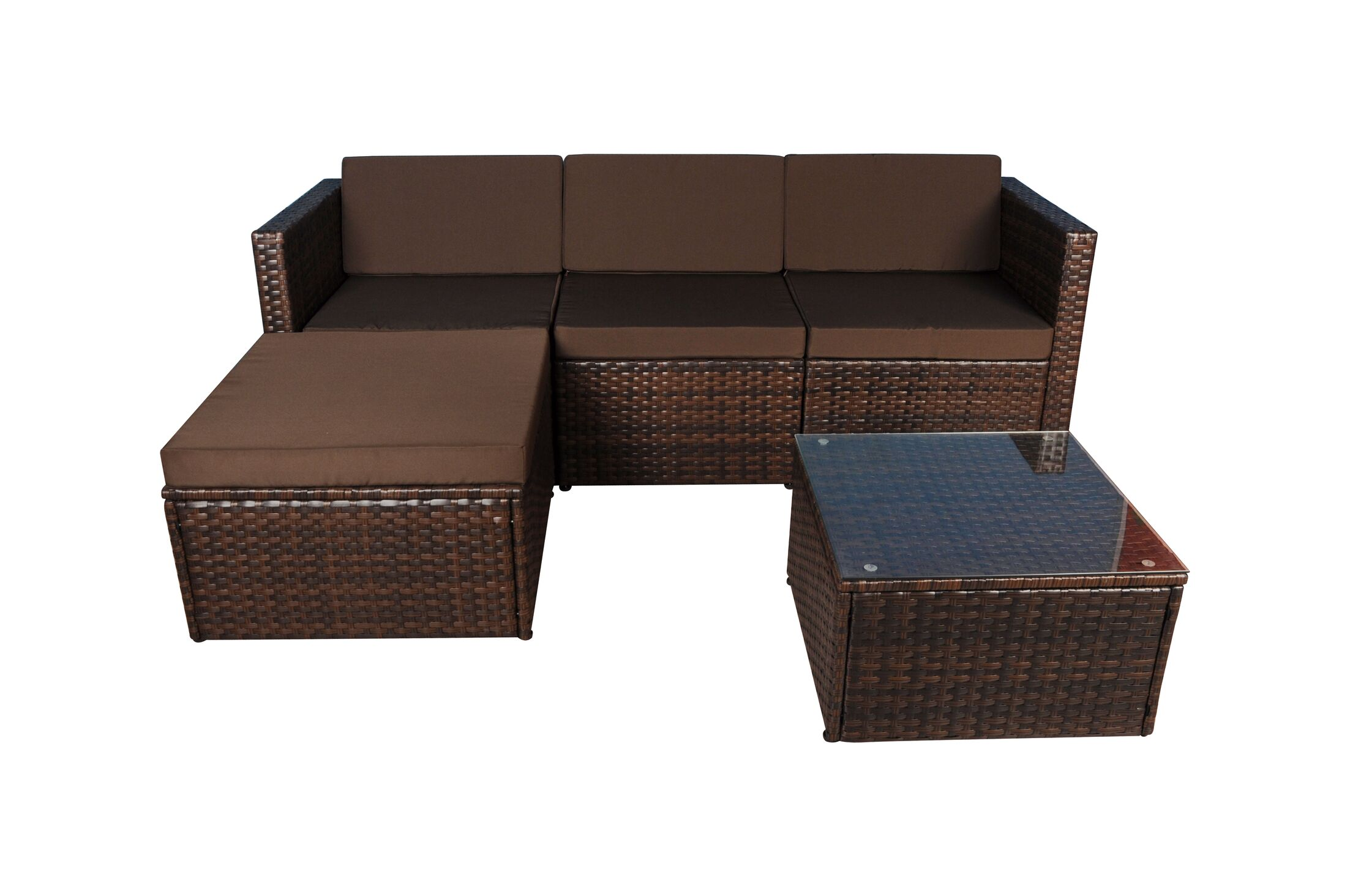 3 Piece Sectional Set with Cushions Fabric: Brown, Frame Color: Brown