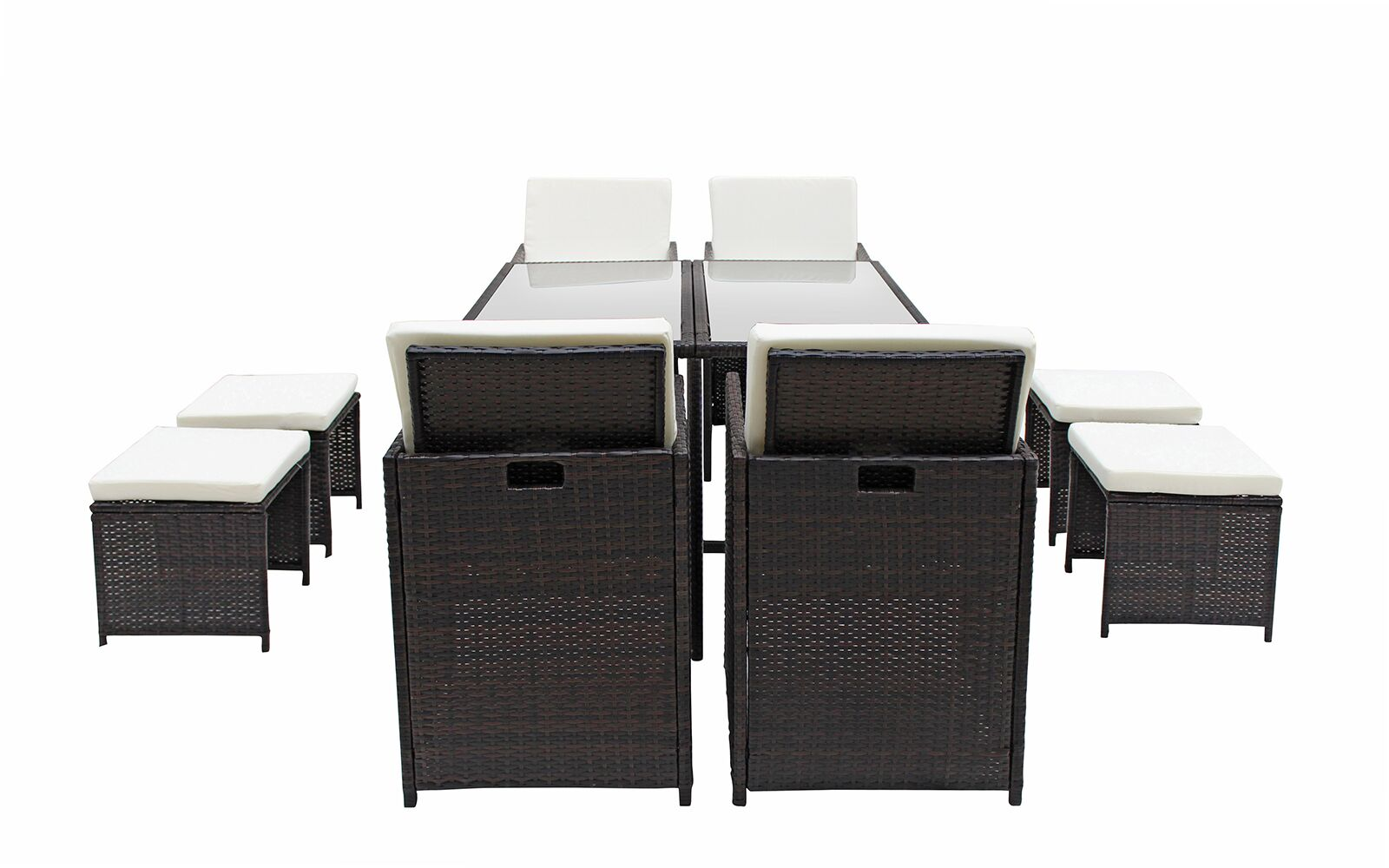 Cauley Space Saving Outdoor Furniture Rattan Patio 8 Piece Dining Set Cushion Color: Brown/Beige