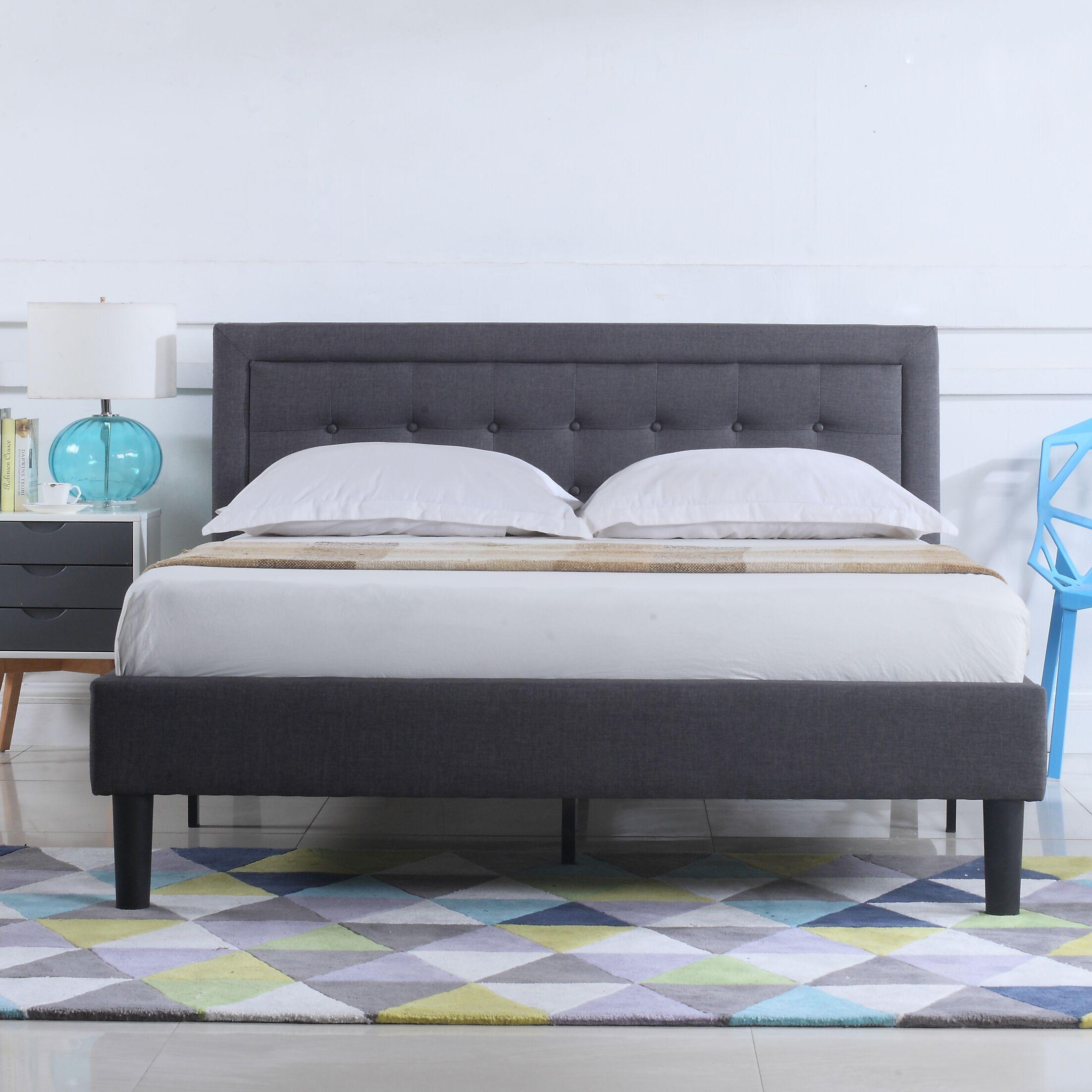 Gibsonburg Low Profile Linen Upholstered Platform Bed Size: King, Color: Gray