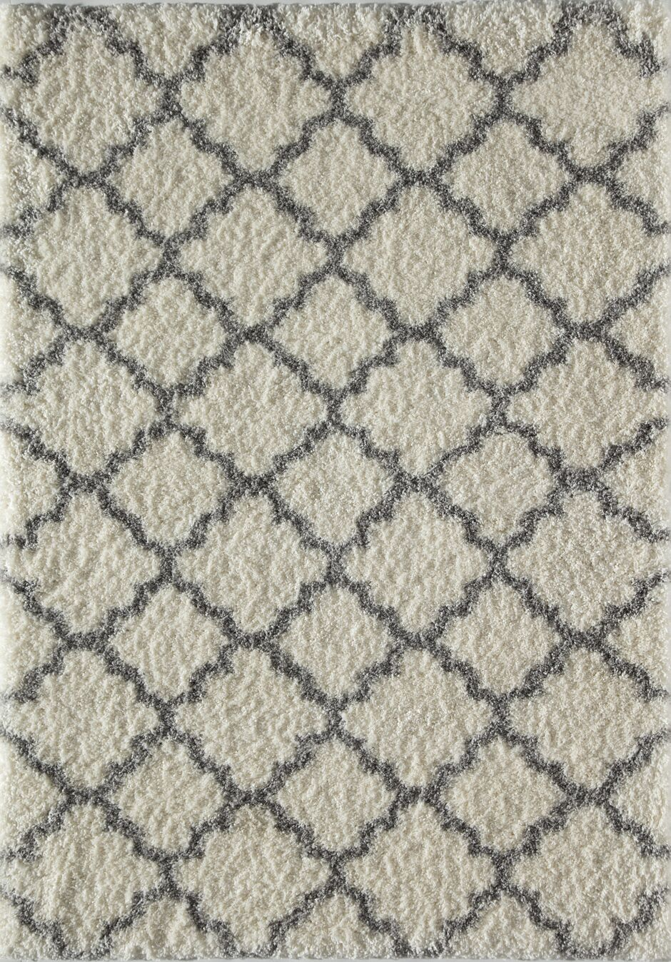Aria Quatrefoil Ivory/Gray Area Rug Rug Size: Runner 2'3