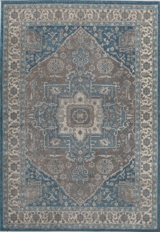 Estelle Frisson Gray/Blue Area Rug Rug Size: 4' x 5'7