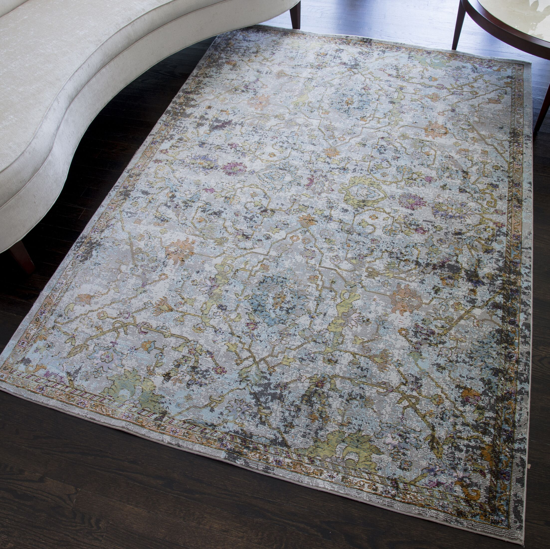 Chavira Distressed Blue/Green Area Rug Rug Size: Rectangle 5' x 7'