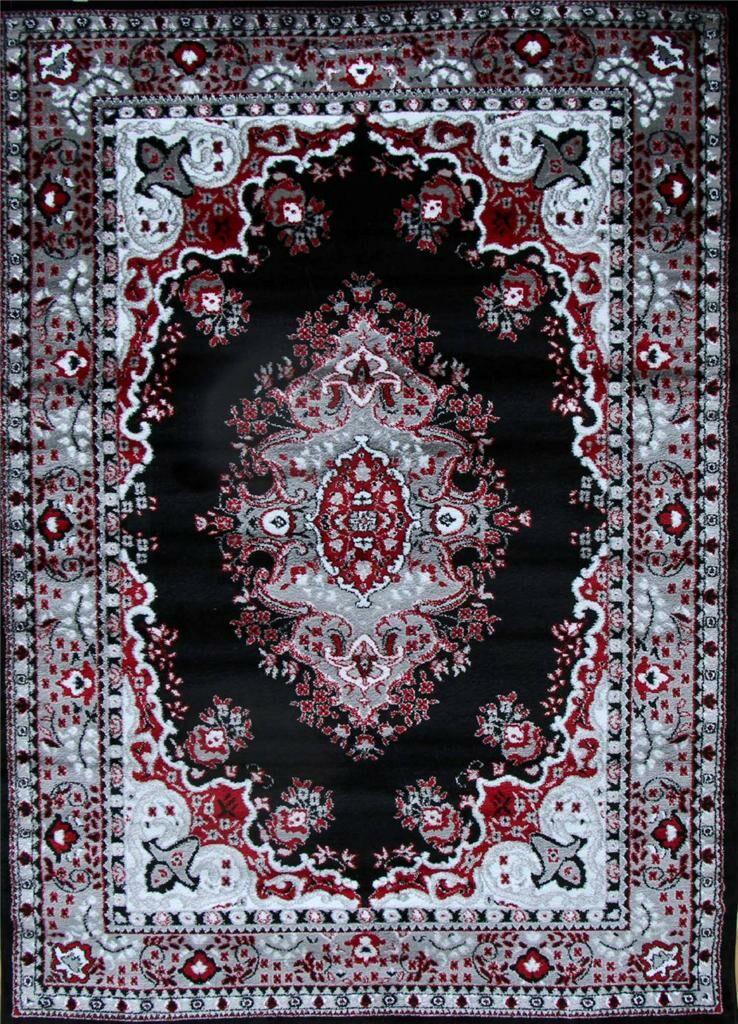 Oriental Isfahan Black Area Rug Rug Size: Rectangle 5'2