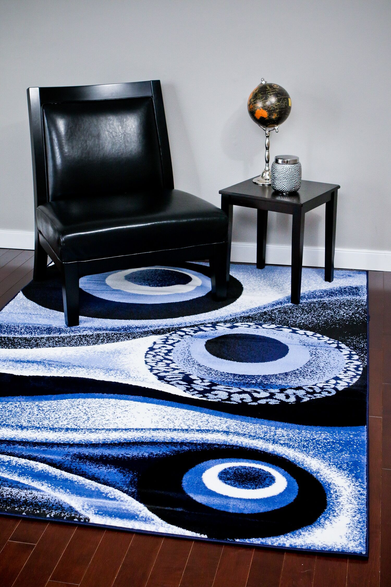 Abstract Blue Area Rug Rug Size: Rectangle 2' x 3'