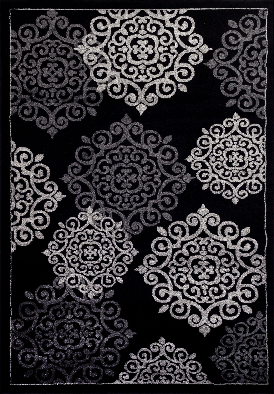 Sathvik Modern Black Area Rug Rug Size: Rectangle 5'2