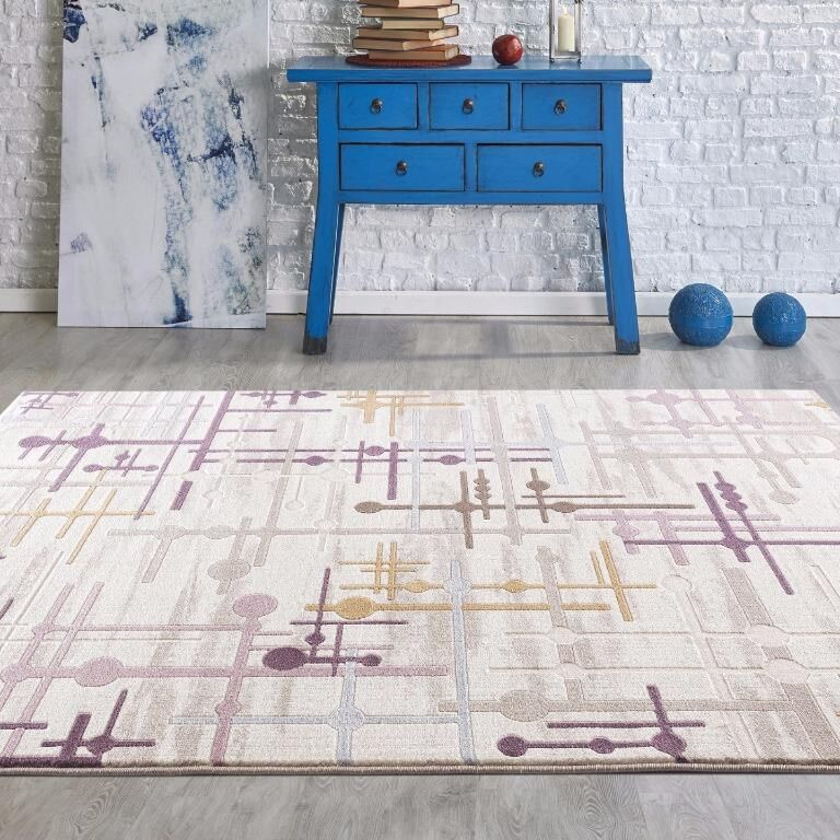 Taksim Beige/Purple Area Rug Rug Size: Rectangle 7'9