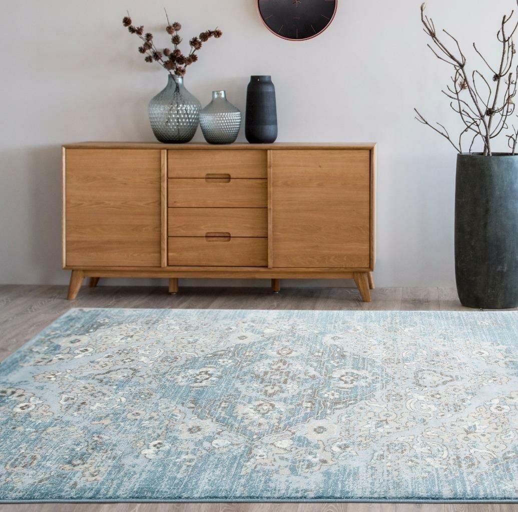 Blocher Blue Indoor/Outdoor Area Rug Rug Size: 5'2