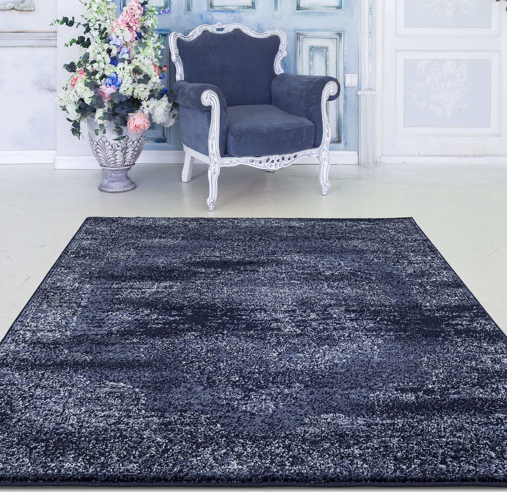 Durst Oriental Navy Area Rug Rug Size: Rectangle 7'1'' x 10'6''
