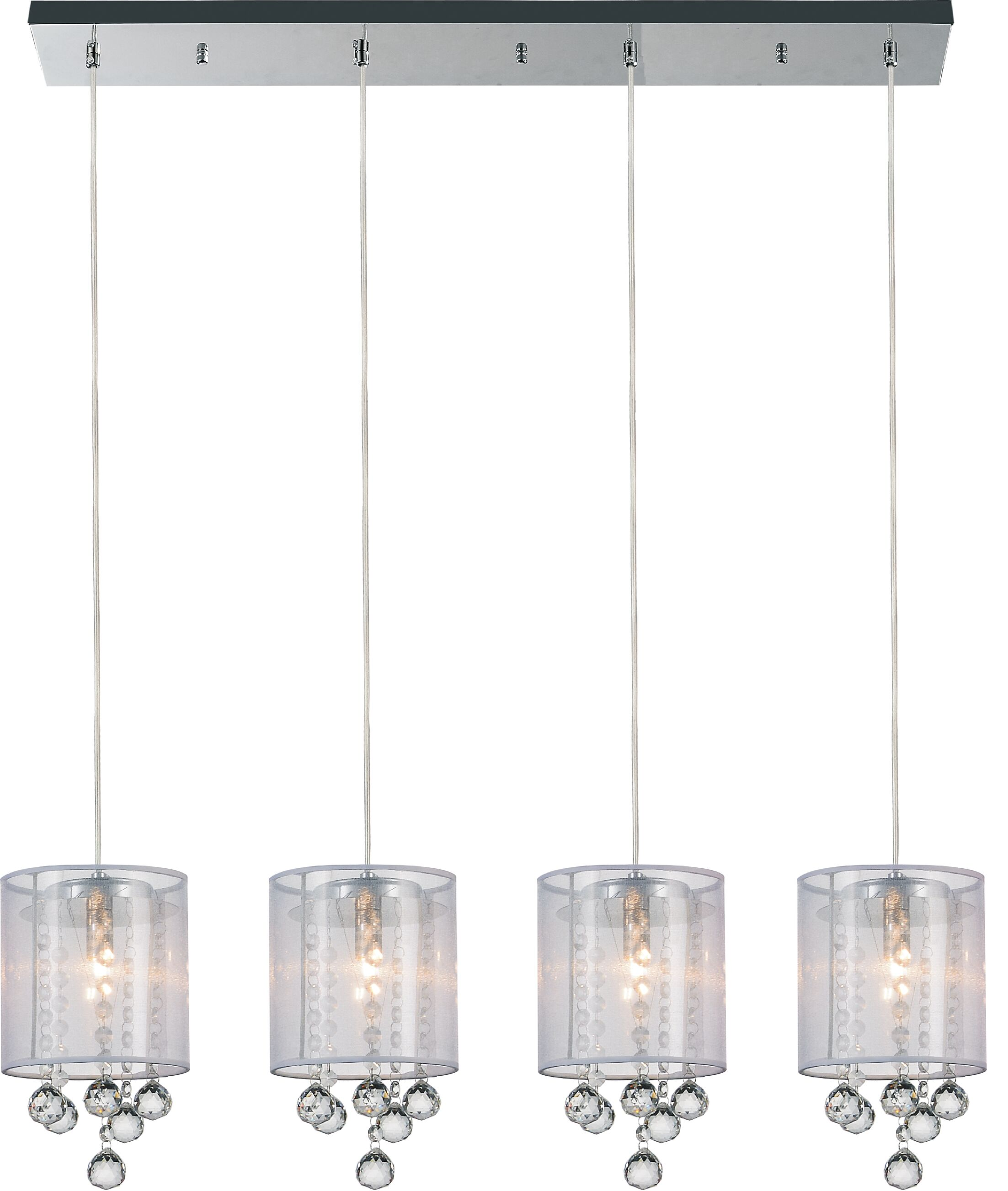 4-Light Kitchen Island Pendant Shade Color: Clear White