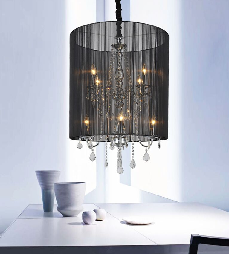 8-Light Pendant Shade Color: Black