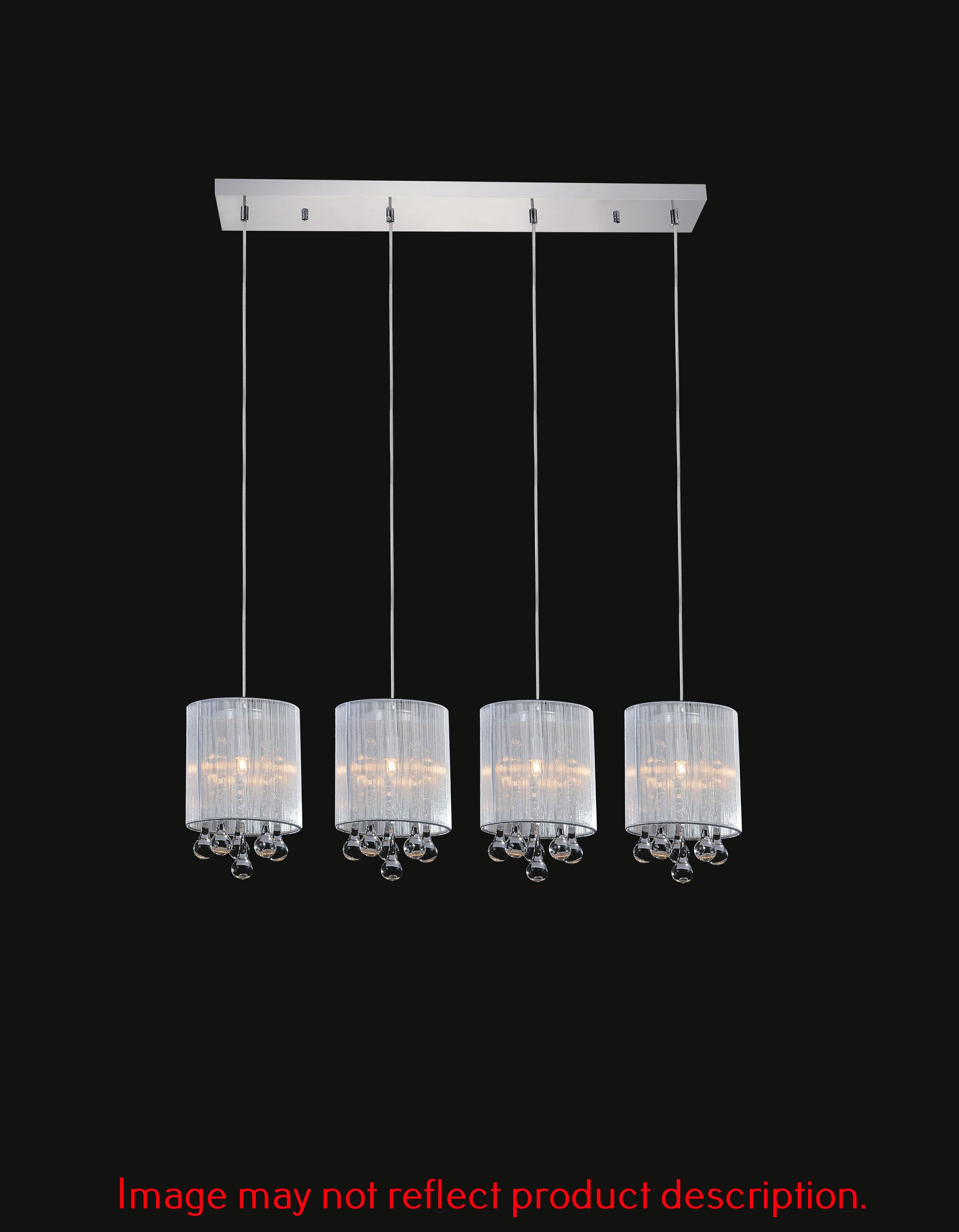Water Drop 4-Light Kitchen Island Pendant Shade Color: White