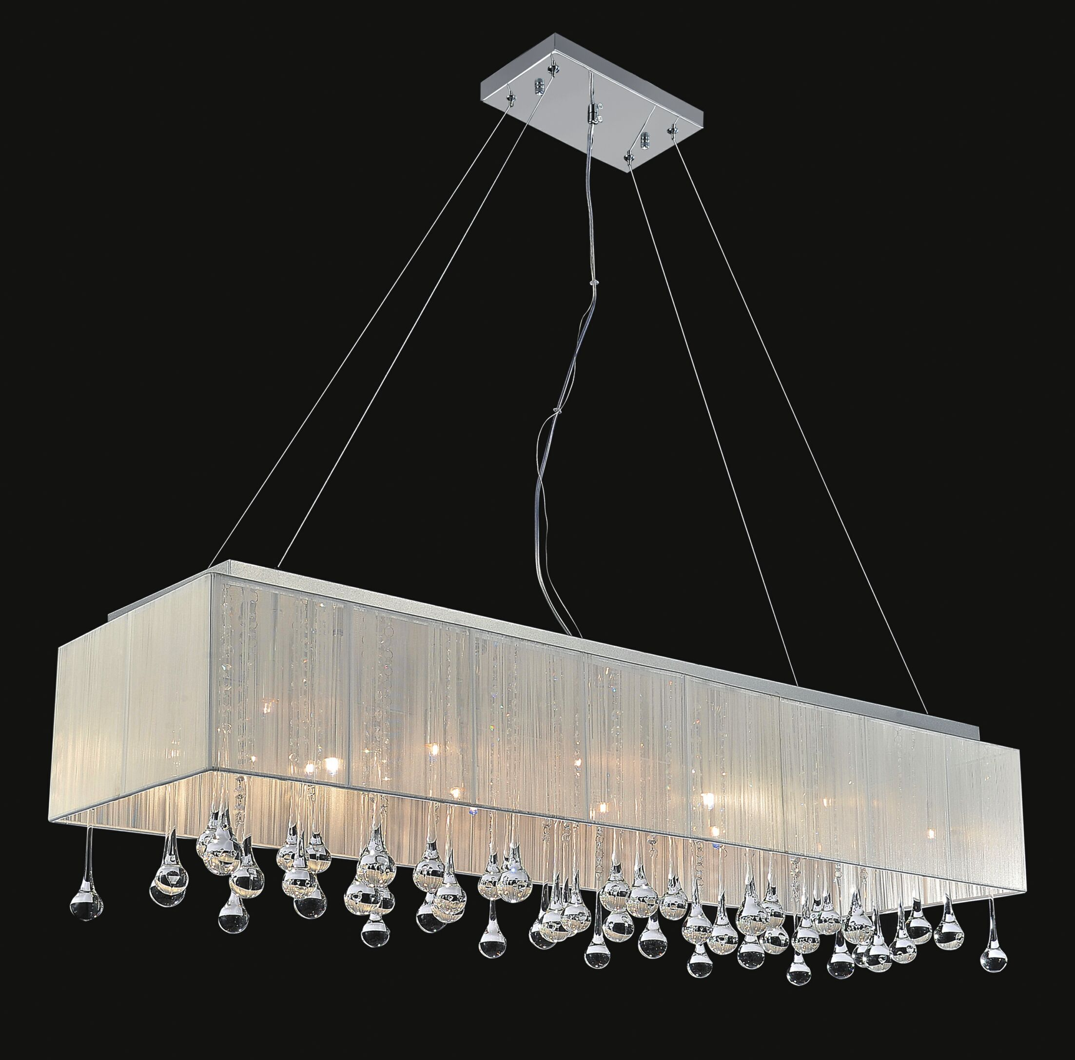 Water Drop 17-Light Square/Rectangle Chandelier Shade Color: Silver