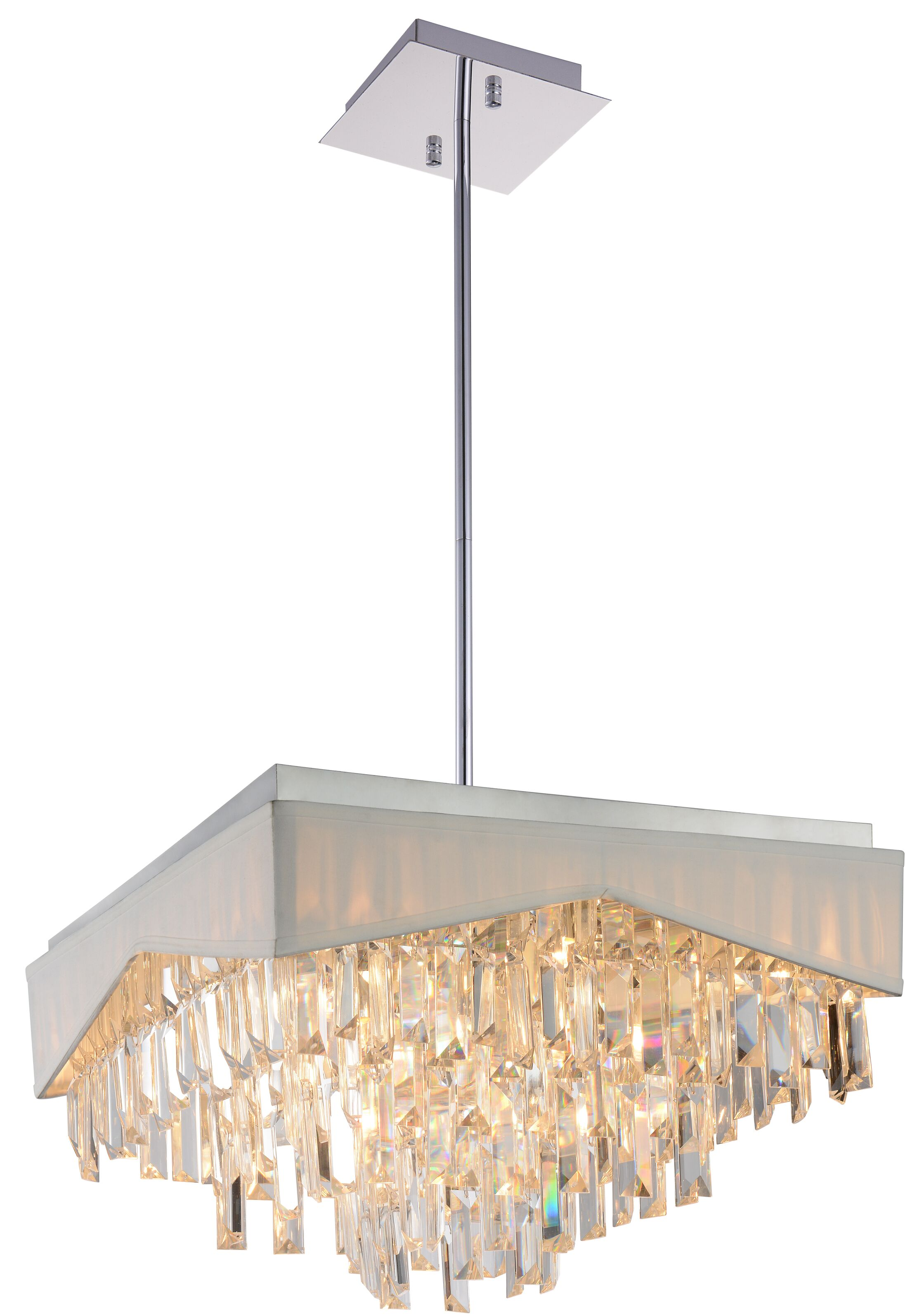 Havely 13-Light Square/Rectangle Chandelier Shade Color: White