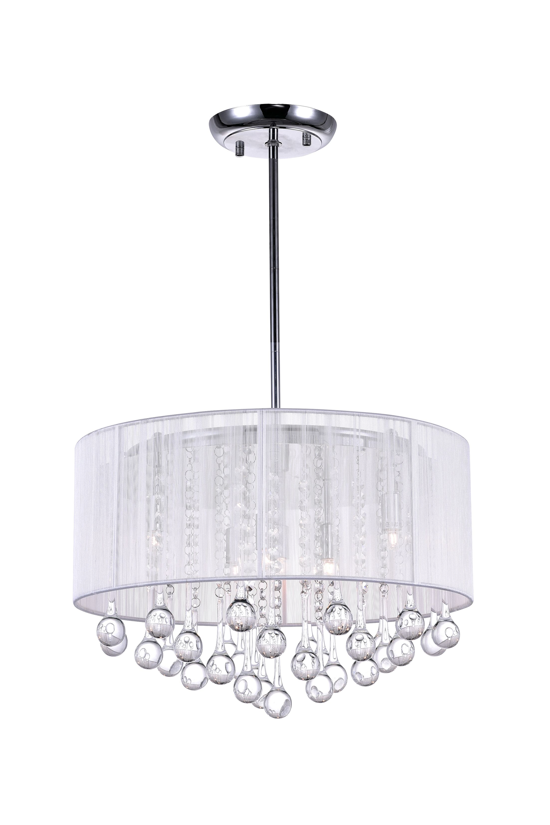 Water Drop 6-Light Pendant Shade Color: White
