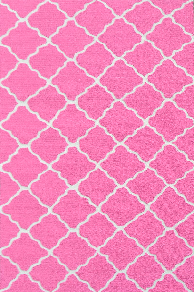 Handmade Pink and White Area Rug Rug Size: 4'7