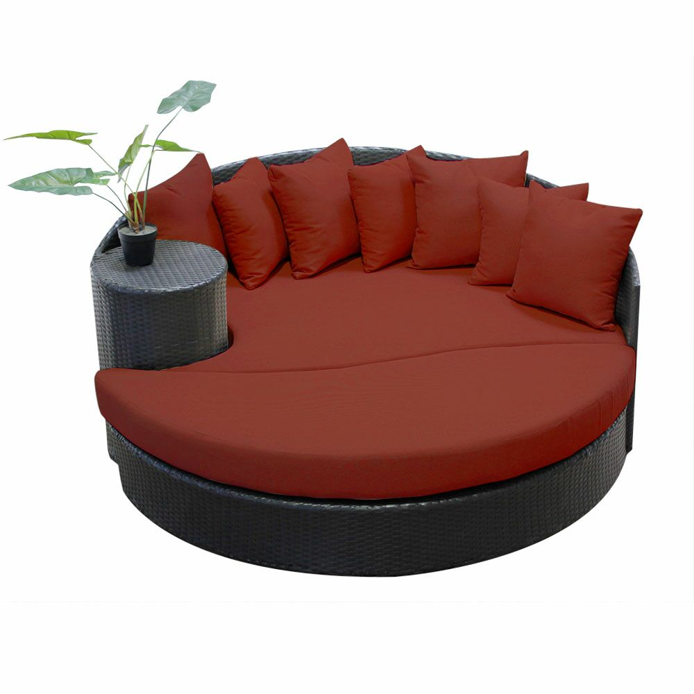 Newport Circular Sun Daybed with Cushions Color: Terracotta