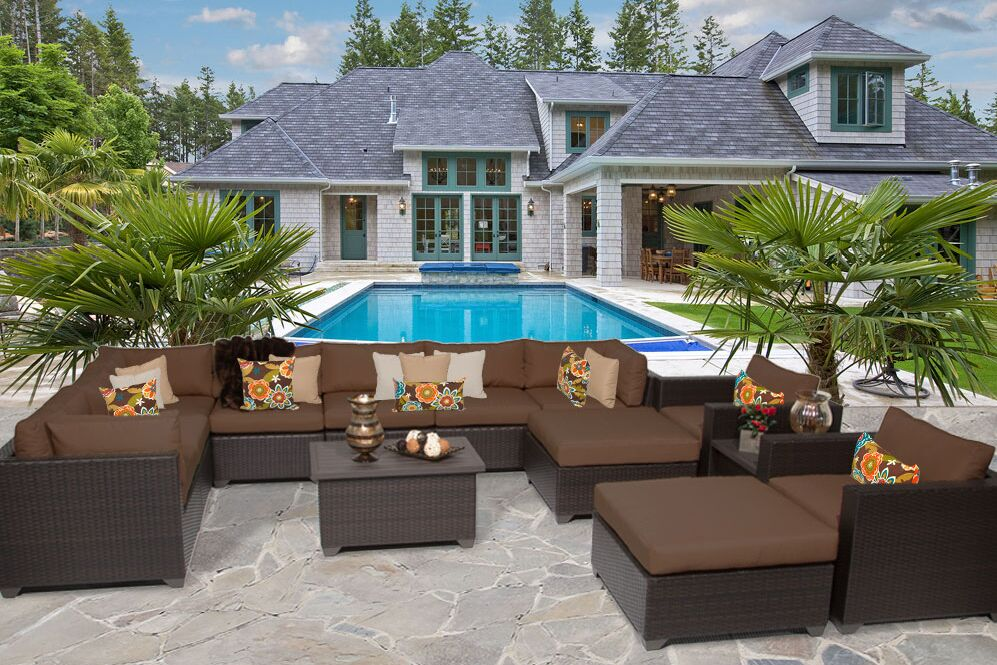 Belle 13 Piece Rattan Sectional Set with Cushions Fabric: Cocoa