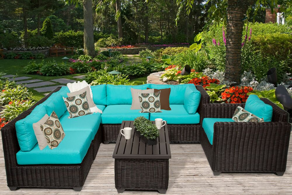 Eldredge 7 Piece Sectional Set with Cushions Color: Aruba