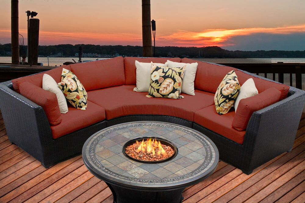 Barbados 4 Piece Rattan Sectional Set with Cushions Color: Terracotta