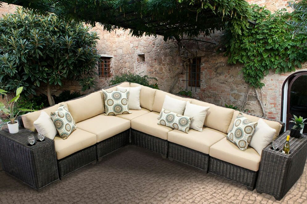 Eldredge 8 Piece Sectional Set with Cushions Color: Wheat