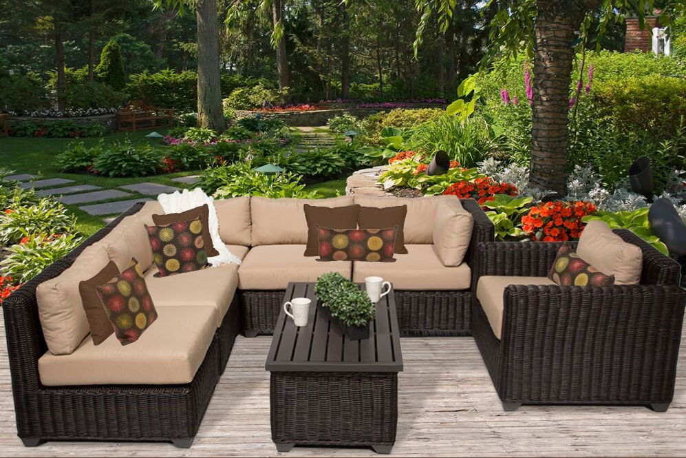 Eldredge 7 Piece Sectional Set with Cushions Color: Wheat