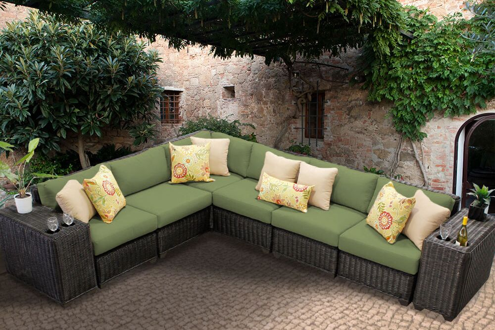 Eldredge 8 Piece Sectional Set with Cushions Color: Cilantro