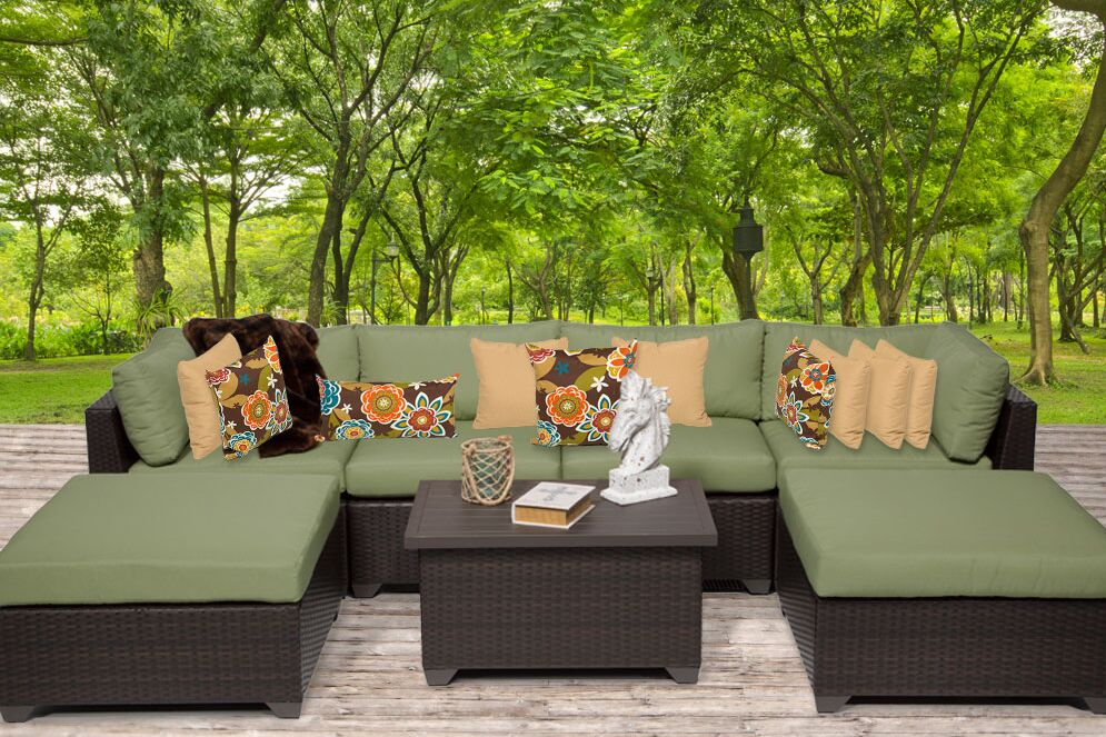 Belle 7 Piece Sectional Set with Cushions Fabric: Cilantro
