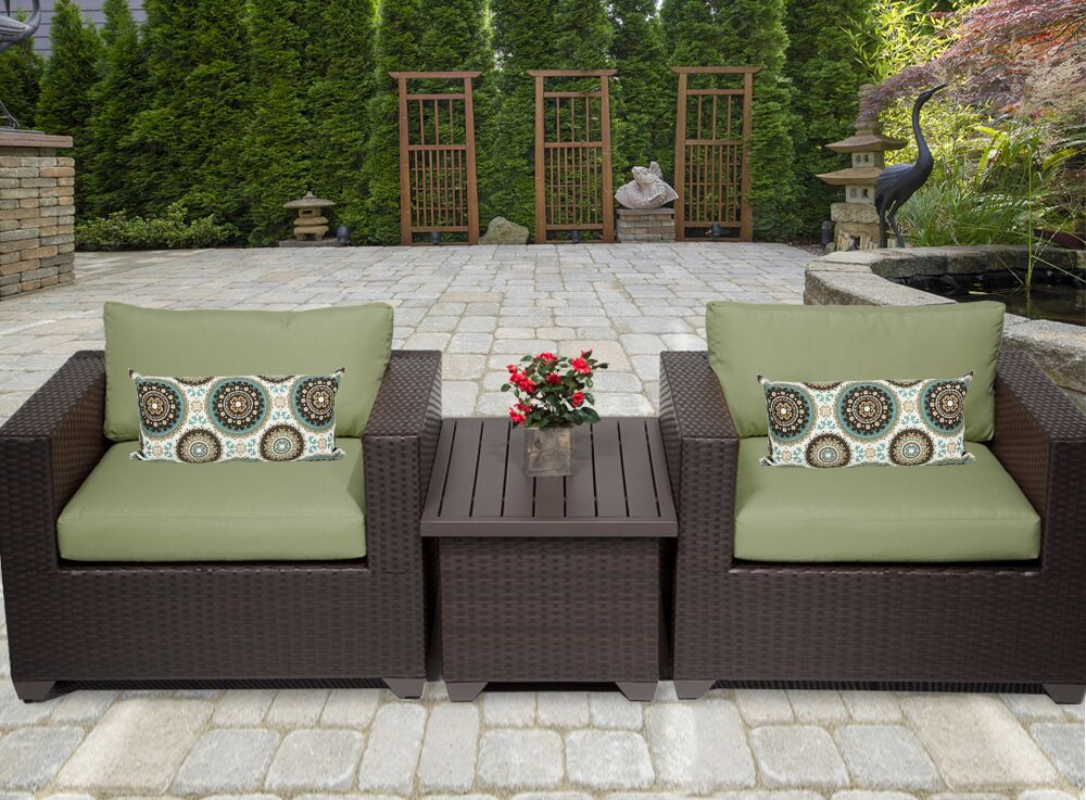 Belle 3 Piece Rattan Conversation Set with Cushions Fabric: Cilantro
