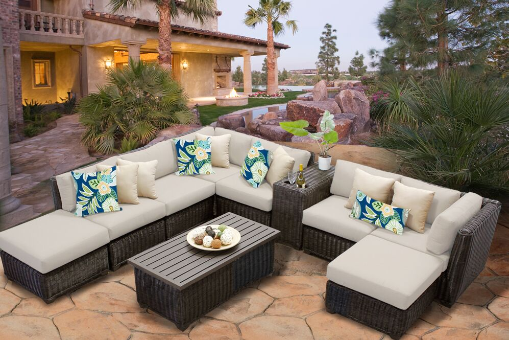 Eldredge 10 Piece Sectional Set with Cushions Color: Beige