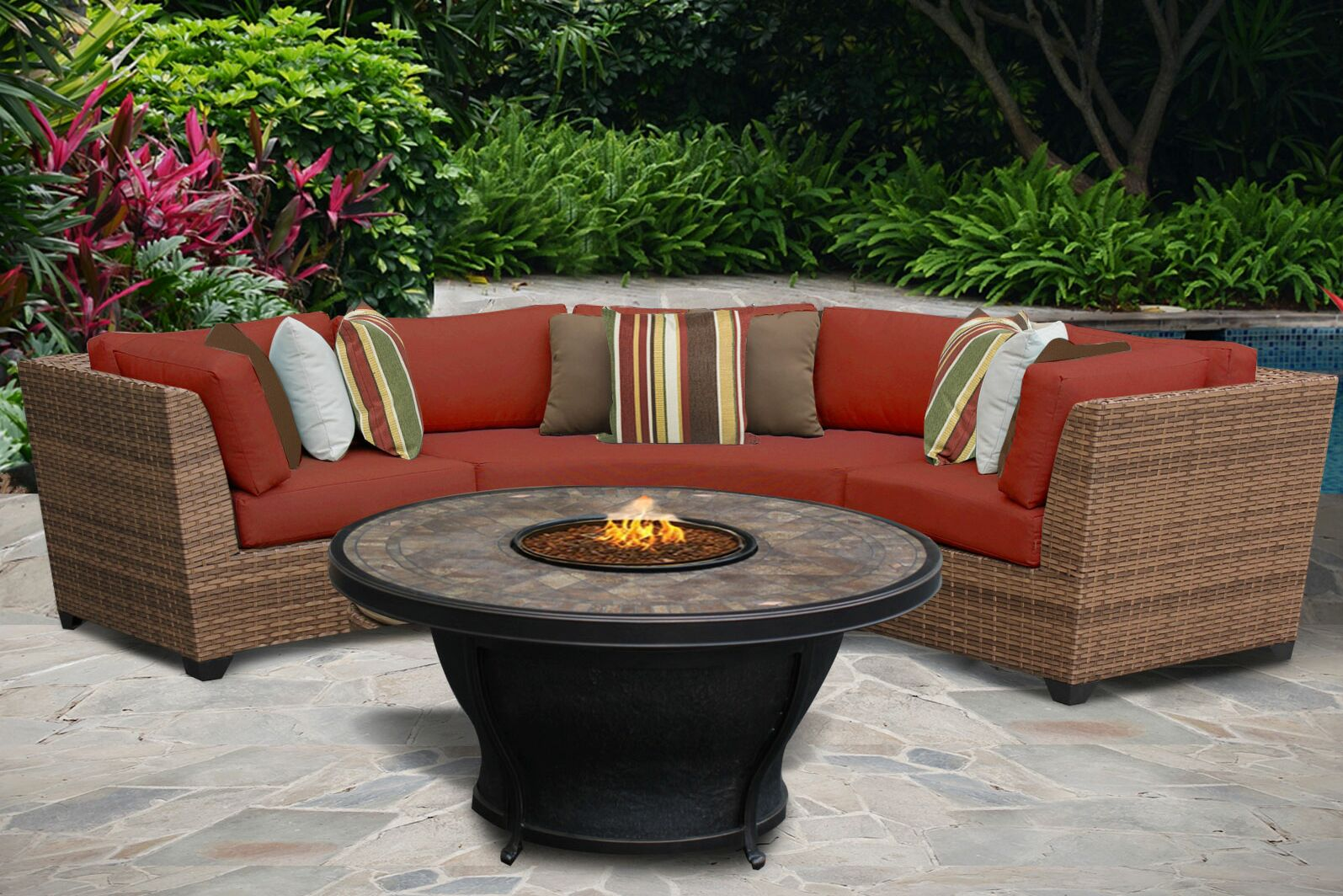 East Village 4 Piece Rattan Sectional Set with Cushions Color: Terracotta