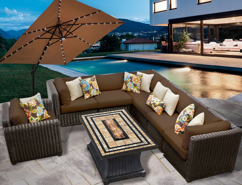 Eldredge 8 Piece Sectional Seating Group with Cushions Color: Cocoa