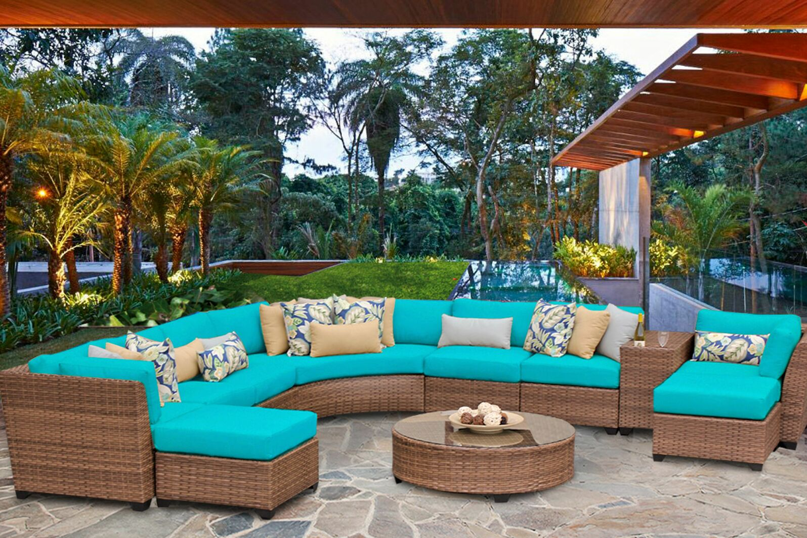 East Village 11 Piece Sectional Set with Cushions Color: Aruba