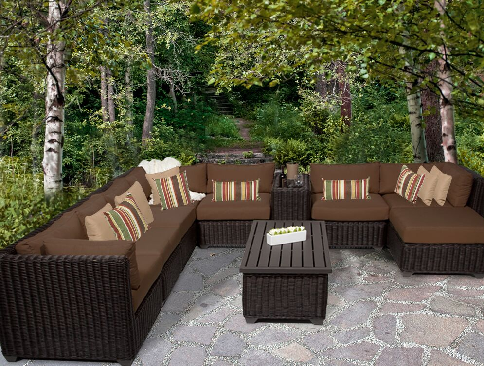 Eldredge 10 Piece Sectional Set with Cushions Color: Cocoa