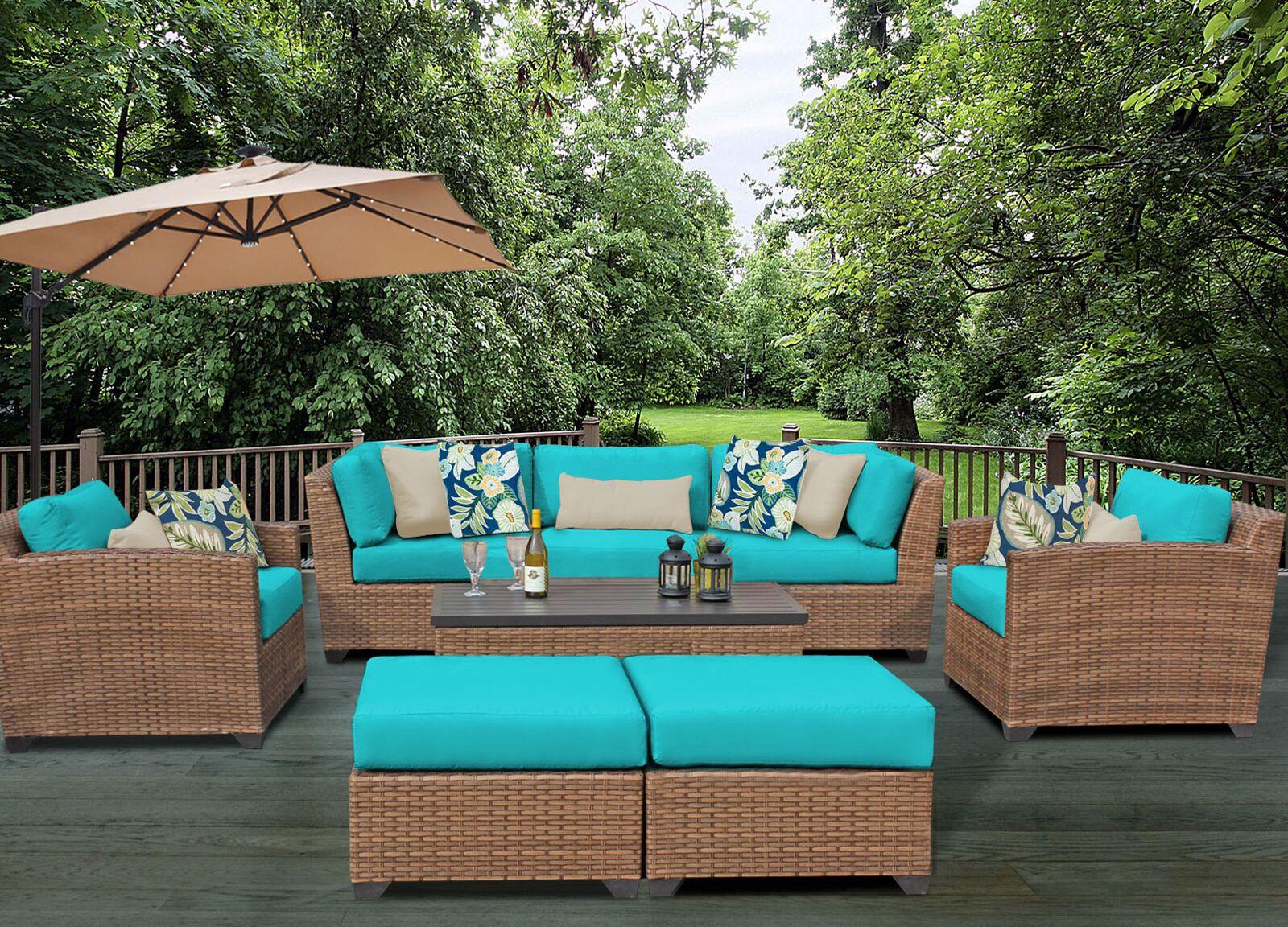 East Village 8 Piece Rattan Sofa Set with Cushions Fabric: Aruba