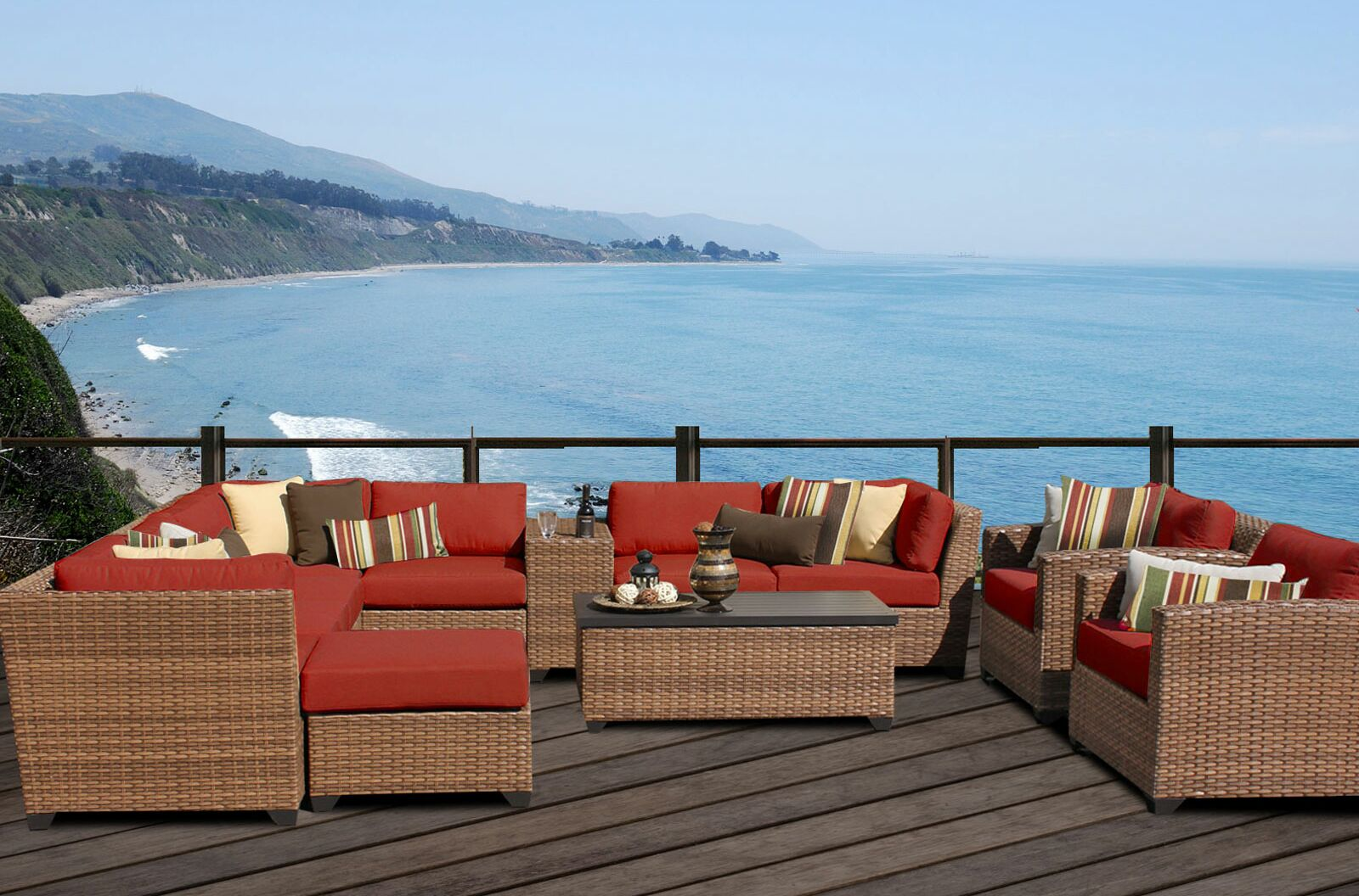 East Village 12 Piece Sectional Set with Cushions Color: Terracotta