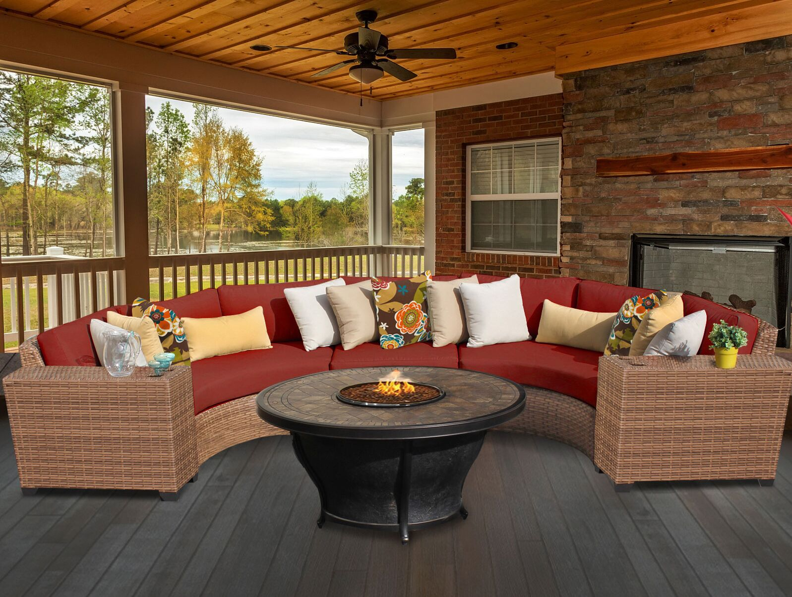 Laguna 6 Piece Fire Pit Seating Group with Cushion Fabric: Terracotta