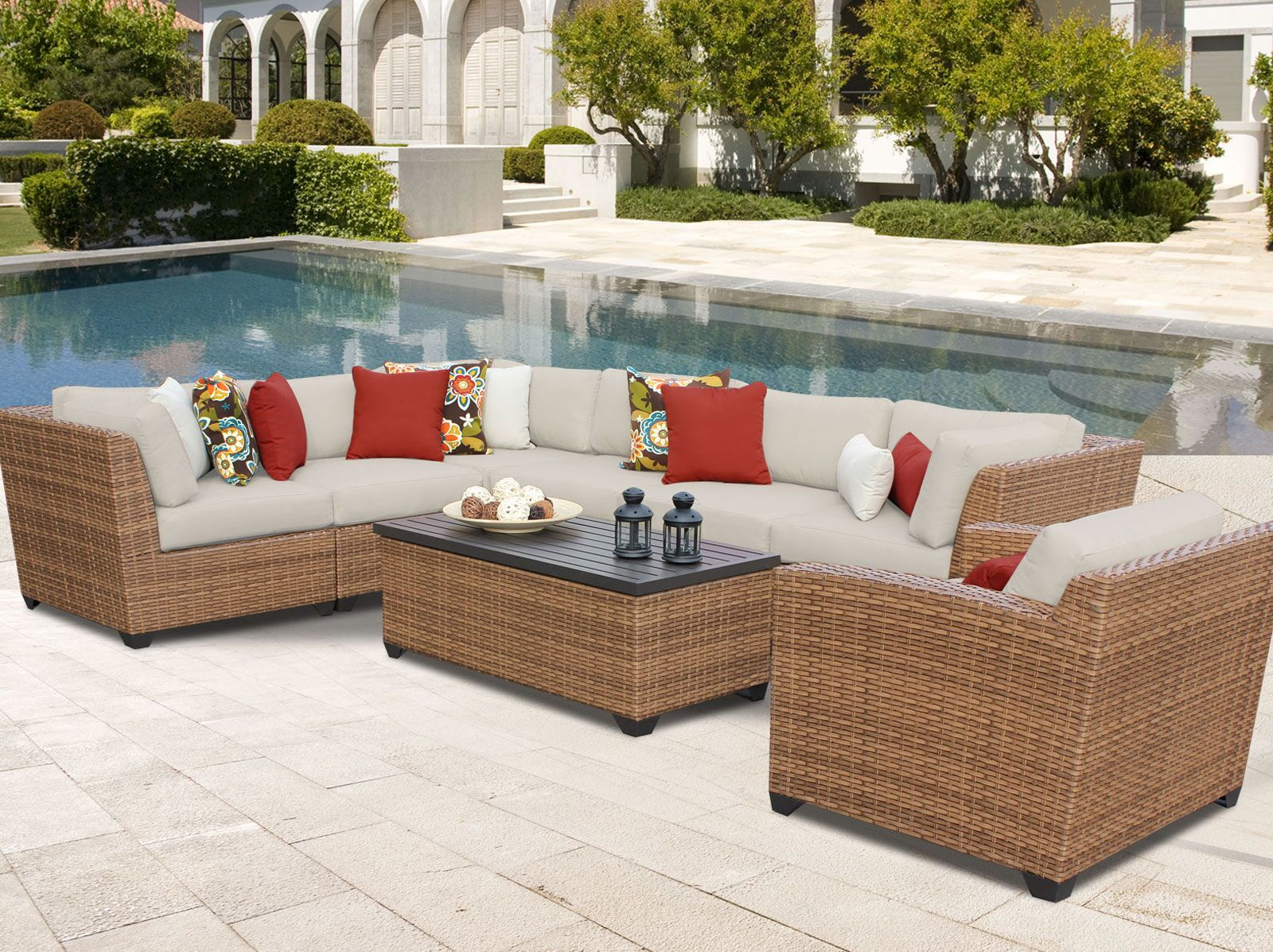 East Village 8 Piece Rattan Sectional Seating Group with Cushions Color: Beige